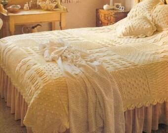 bedspread and cushion aran knitting pattern 99p