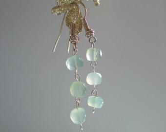 Seafoam Blue Earrings with Sterling Silver Hook