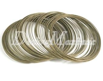 100 loops 0.6mm 60m Memory Steel Wire Cuff Bangle Bracelet DIY Jewelry Making Antique Brass TL0031-4