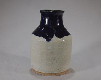 White and Cobalt Blue stoneware bottle