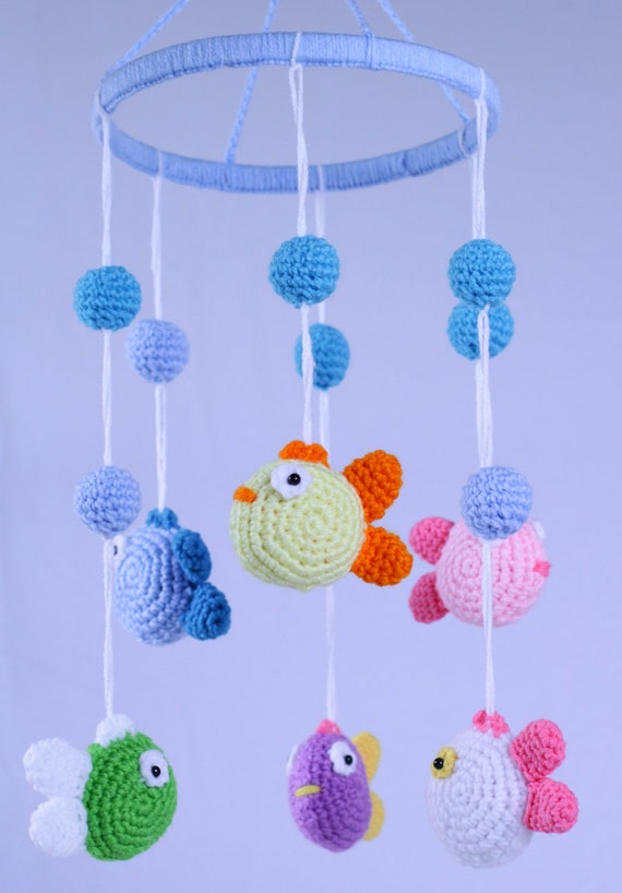 Crochet Fish Mobile - A colorful Baby Shower Gift - 6 happy Fish
