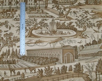 BRUNSCHWIG & FILS FRENCH Country Villages Pictorial Toile Fabric 10 Yards Brown Amber Cream