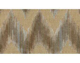 LEE JOFA KRAVET Cut Velvet Chevron Flame Stitch Zig Zag Fabric 10 yards Grey