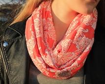 Orange Infinity Scarf - Loop Scarf Jersey Fabric - Handmade Accessory - Puff Lace Pattern -Womens Spring Scarf - Orange shawl