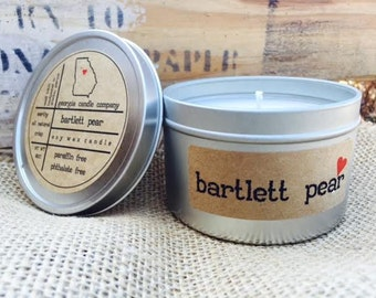 ON SALE!  Bartlett Pear Soy Candle Tin 8 oz. - summer soy candle - pear scent candle - fresh scent candle - fall scent candle