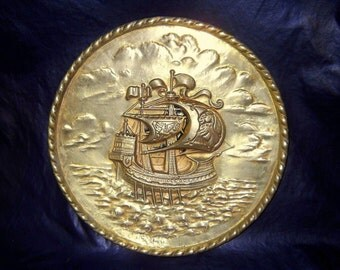 "Vintage Embossed 10 1/4"" Diameter Brass Plate, Nautical Ship, made by Peerage, England"