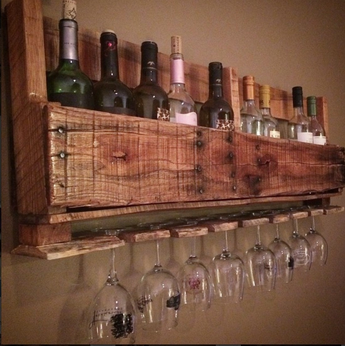 Custom rustic wine bar rack by awrestoration on etsy for Custom wine bar