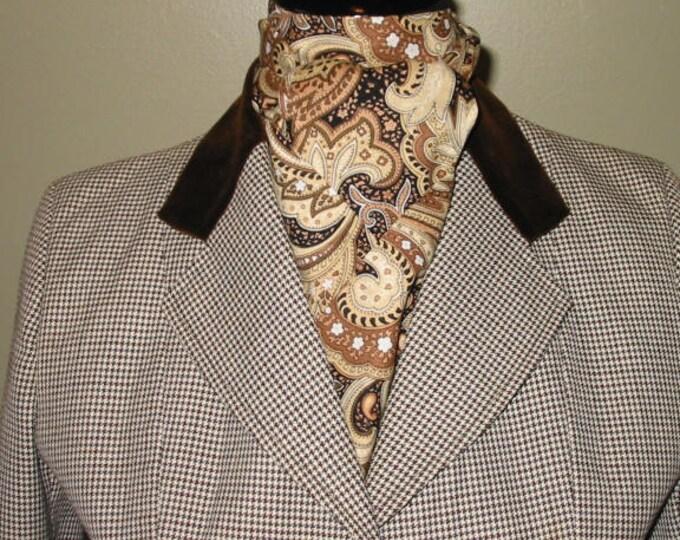 Brown/Cream/Tan Paisley Stock Tie