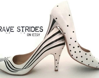 Custom Hand Painted Heels. Stripes & Polkadots Pumps. Black,  White and Silver.  Unique Shoes. I paint your shoes!