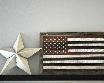 "Reclaimed Rustic Wood Framed American Flag Made From Reclaimed Wine Stained Oak Slats, Other Sizes Available 24""x15"" // Independence Day //"