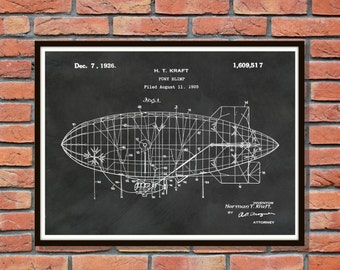 Patent 1926 Goodyear Blimp - Pony Blimp Dirigible Air Balloon Patent Print Designed by Herman Kraft - Aviation Wall Art