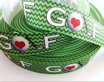 7/8 inch I Love Golf on Green Chevron Sports Printed Grosgrain Ribbon for Hair Bow