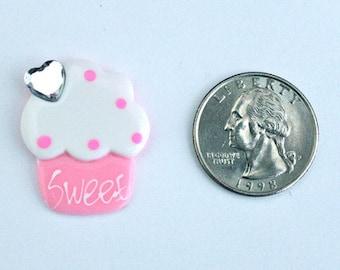 1 Piece - Light Pink Sweet Cupcake Resin Flat Back Flatback Flat Back