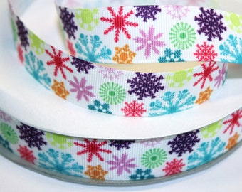 7/8 inch - Colorful Snowflakes  icicles on White  AL108 - Printed Grosgrain Ribbon for Hair Bow