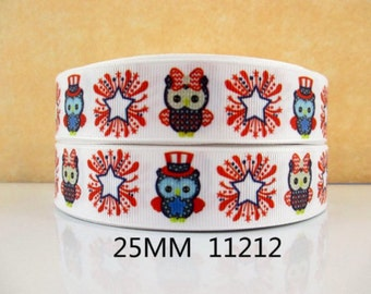 1 inch Patriotic Owls STAR / FIREWORKS 11212 - 4th of July - owl - Printed Grosgrain Ribbon for Hair Bow