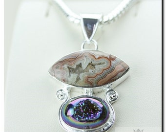 MEXICAN CRAZY Lace Agate DrUSY DrUZY 925 Solid Sterling Silver Pendant + 4mm Snake Chain & Free Worldwide Shipping P1714