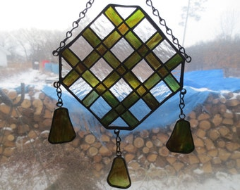 Latvian Ethnic Stained Glass Suncatcher
