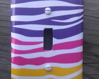 Rainbow Zebra Print Light Switch Cover, Zebra Print Room Decor, Zebra Print Decor, Animal Print, Rainbow  Nursery, Teen, Tween, Girls Room