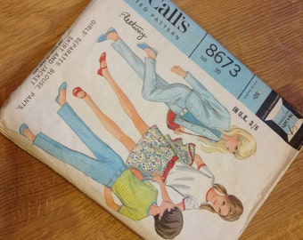 1960s McCall's Vintage Children's Patter - Girls Separates - Blouse, Pants, Skirt and Jacket
