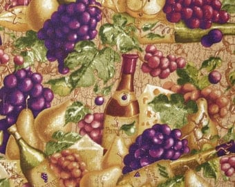 Cotton quilt fabric Tasting Room Rebecca Carter Wilmington Prints  wine cheese grape ocher Half yard TMB129