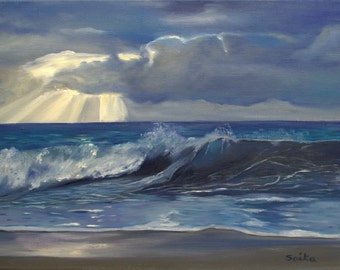 The calming of the waves, 18x24 ocean view oil painting, seascape, wall art, original art, home decor