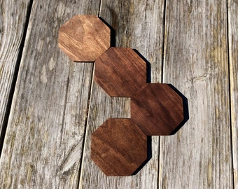 Octagon Wooden Coasters Set of Four