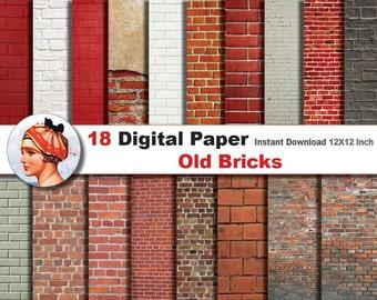 18x Old Bricks paper +  Digital paper patterns - Scrapbooking Paper, Instant Download (No. 38)