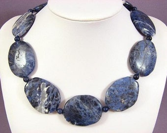 Necklace Sodalite 40mm Smooth Stone 925 NSSD5623