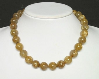 Necklace Gold Rutilated Quartz 14mm Round Beads 925 NSQR2608