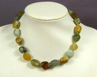 Necklace Fire New Jade 20mm Nuggets 925 NSNJ5407