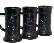 Stein / Mug- Set of 3 Black Glass Beer Stein by Tiara Exclusives