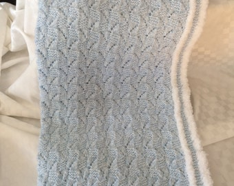 Hand Knit Baby Blanket Blue