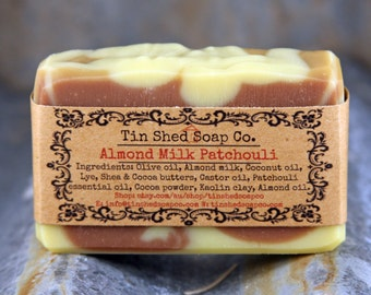 Almond Milk Patchouli Handmade Soap with Shea and Cocoa Butters. All Natural. Made in Australia.