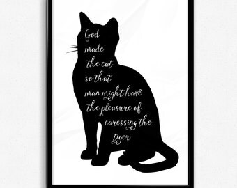 "Scandinavian Wall Art ""God Made The Cat.."", Typography Art, Wall Art, Black and White Printable Wall Art, Large Wall Decoration"