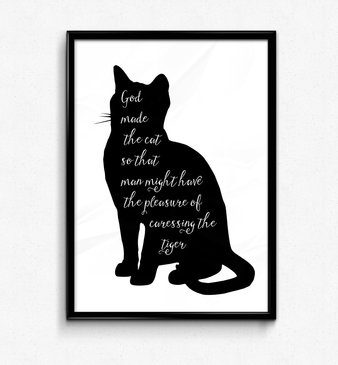 Wall Art Metal Sayings : Scandinavian wall art god made the cat