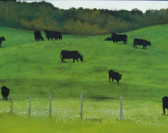 Black Cows (original oil on canvas)