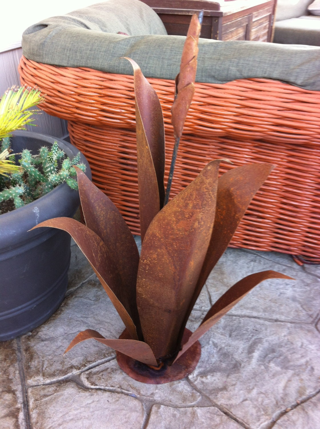 Budding Agave Rustic Metal Garden Sculpture Metal by ...