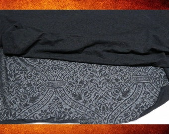 Fabric - Black Burnt Out Renaissance Print Stretchy Sheer 2 yards for costumes, doll-making, and crafts. Sold by the yard. FABY-006