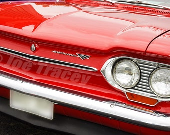 1963 Red Chevrolet Corvair, Classic Cars, Automotive Decor, Automobile Photography, Wall Art, Old Cars, Car Pictures