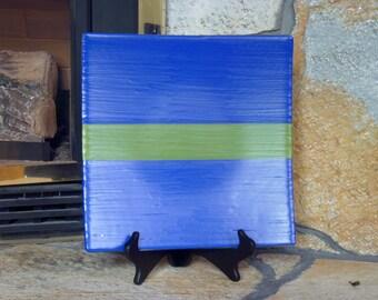 Medium Square Glass Platter - textured