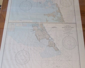 Bahama Islands, Raccoon Cut and Ragged Islands Anchorage - Two Charts in One - West Indies - Nautical Chart, 1717