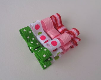 Baby Hair Bow Clips - Pink, Green Set - Toddler Bows