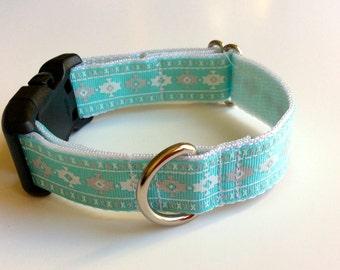 White and Gray Tribal Printed Adjustable Collar
