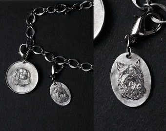 Charm Bracelet with Sterling Silver Dog Breed Pendant, Small Oval, Borderless