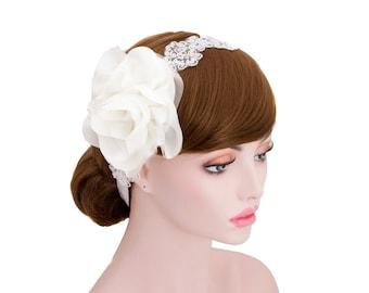 Big Corsage spangle Lace Headband,Wedding Headpiece,Bridesmaid Hair Band,Prom Headband,Ribbon Tie Back Headband-WH10R132