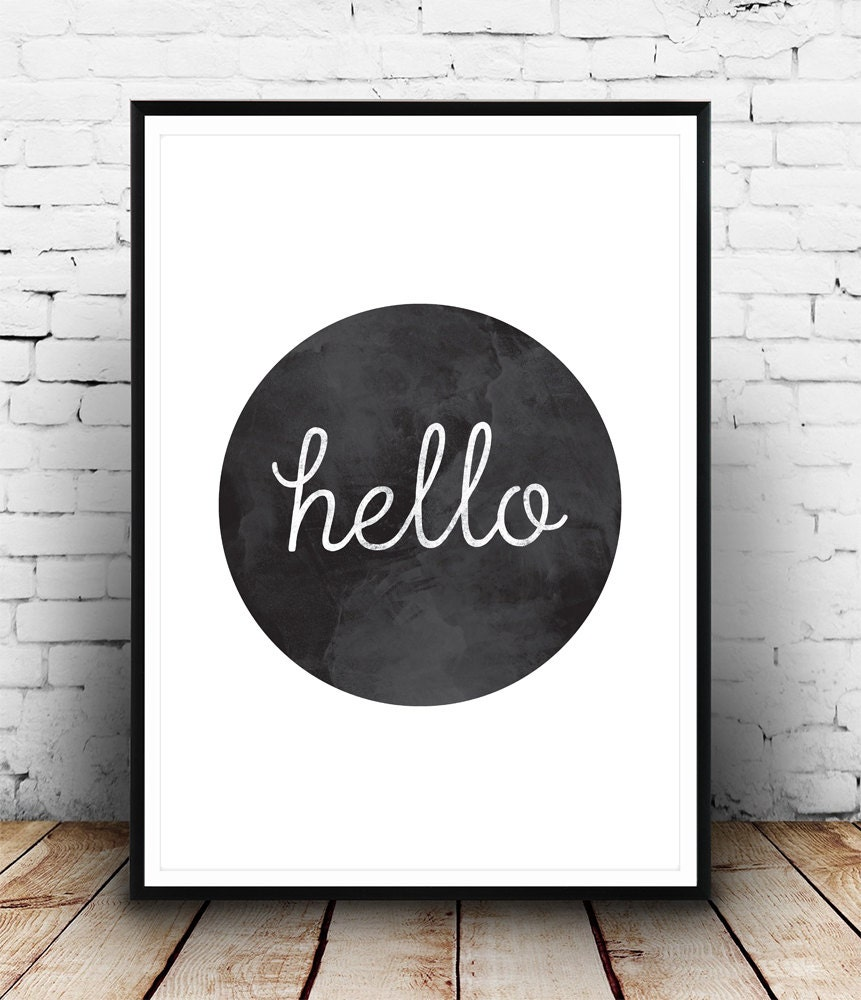 hello print hello poster hallway print hello home by wallzilla. Black Bedroom Furniture Sets. Home Design Ideas