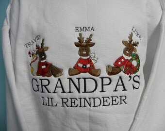 Grandpa's Reindeer - Personalized Embroidered Crewneck Sweatshirt With Names