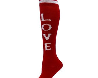 Knee High Funky Word socks LOVE red white valentine's**FREE SHIPPING**