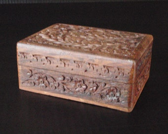 Ornate Wooden Jewelry Treasure Trinket Keepsake Box - Vintage