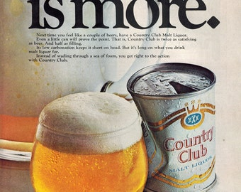 "Vintage Print Ad 1969 : Country Club Malt Liquor ""Less Is More"" Advertisement Wall Art Decor"